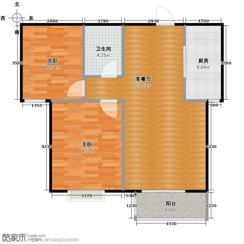 珠峰国际花园三期88.83㎡26号楼f1户型2室1厅1卫1厨