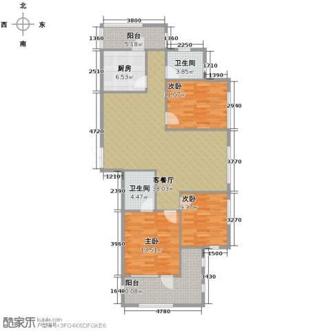 瑞鸿名邸3室1厅2卫1厨140.00㎡户型图