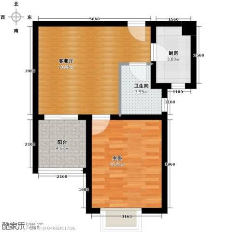 珠峰国际花园三期1室1厅1卫1厨61.00㎡户型图