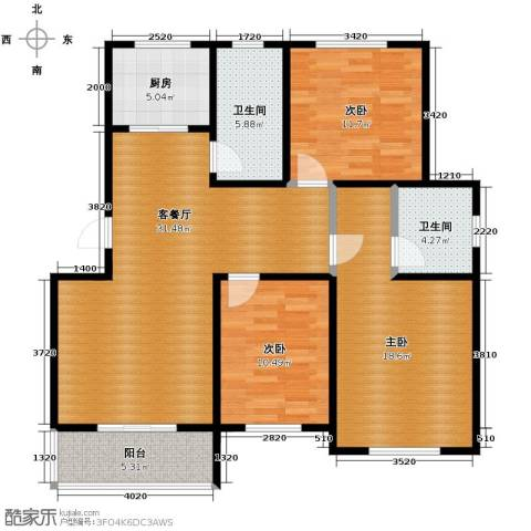 翠语棠城3室1厅2卫1厨110.00㎡户型图