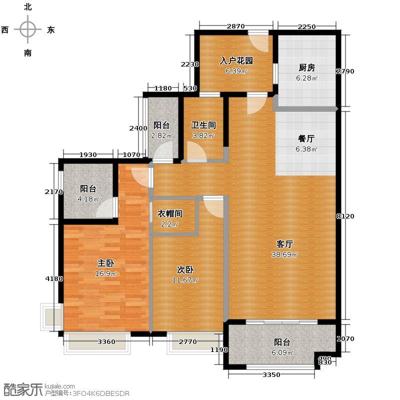佳兆业可园116.00㎡6座2梯04户型2室2厅2卫