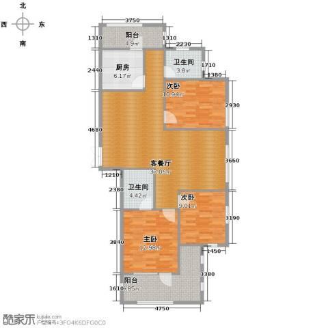瑞鸿名邸3室1厅2卫1厨136.00㎡户型图