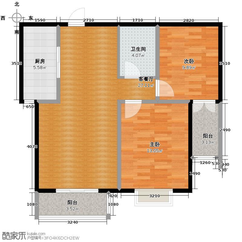 珠峰国际花园三期90.83㎡26号楼f2户型2室1厅1卫1厨