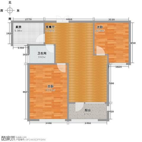 瑞鸿名邸2室1厅1卫1厨95.00㎡户型图
