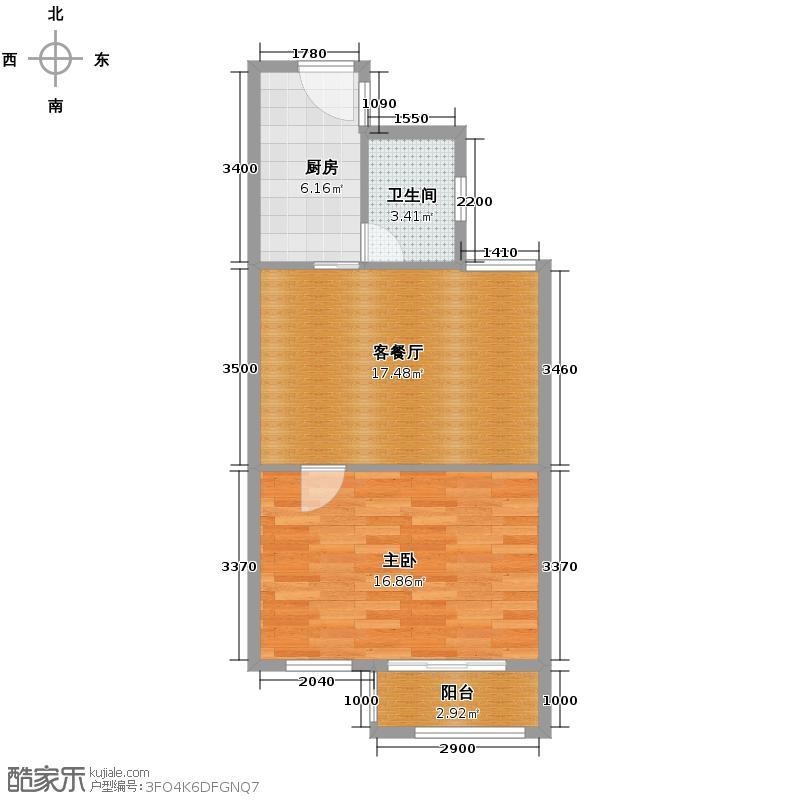 瑞鸿名邸52.05㎡E1户型1室1厅1卫1厨
