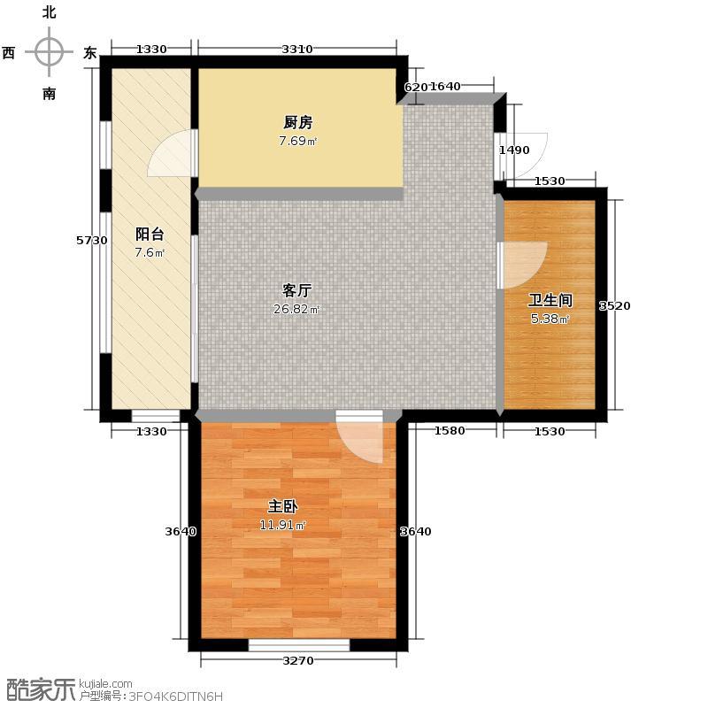 盛和天地人和76.65㎡1#2#楼7665/户型1室1厅1卫