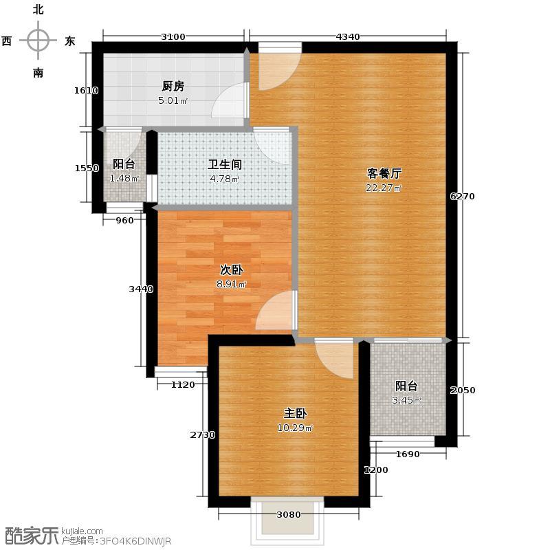 融侨观邸76.00㎡D2户型2室2厅1卫