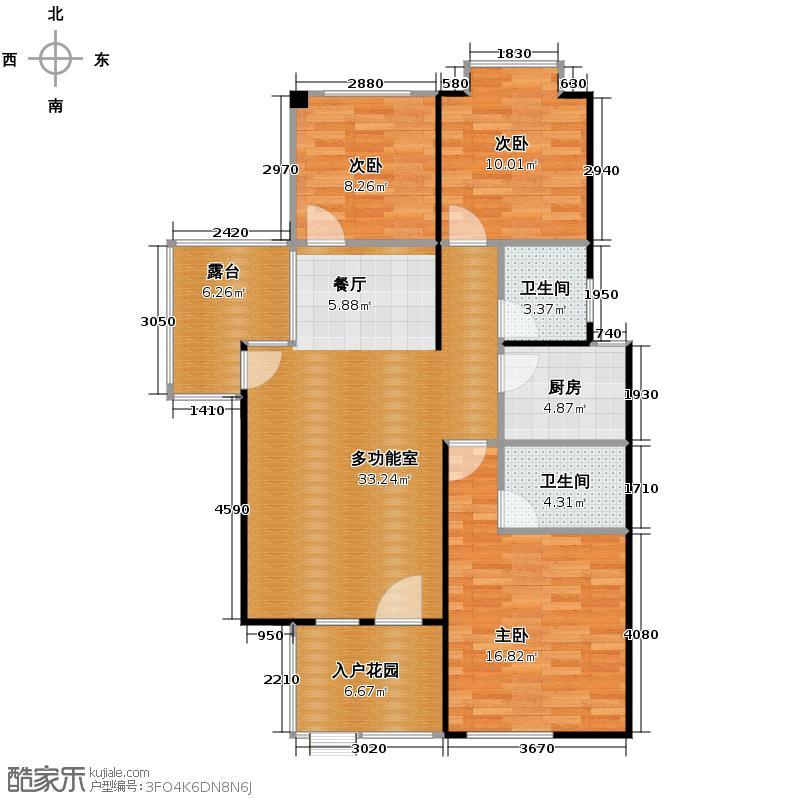 鸿坤・理想海岸90.63㎡C2平面图户型3室2厅2卫