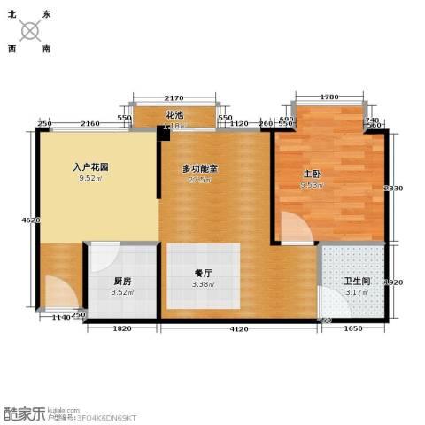 鸿坤・理想海岸1室2厅1卫0厨46.00㎡户型图