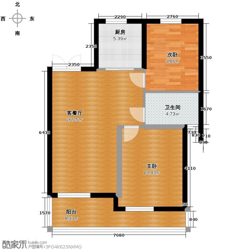 蔚蓝公寓77.45㎡户型2室1厅1卫1厨
