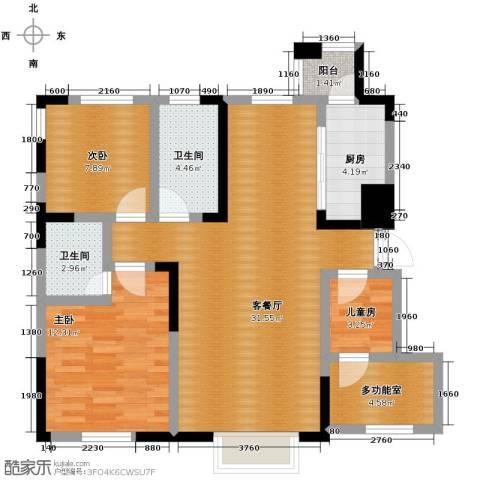益田枫露3室2厅2卫0厨86.35㎡户型图