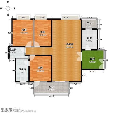南城都汇二期3室1厅2卫1厨116.00㎡户型图