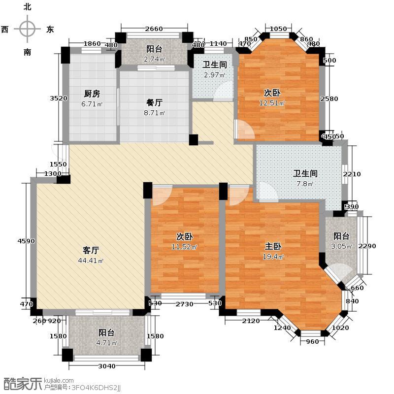 水岸新都花苑131.70㎡G户型3室1厅2卫1厨
