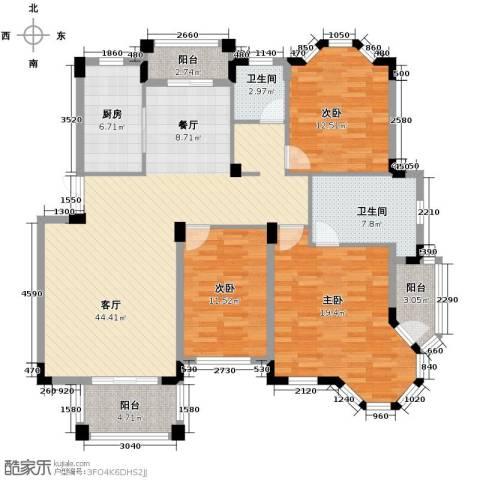 水岸新都花苑3室1厅2卫1厨132.00㎡户型图