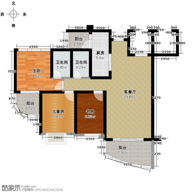 顺德碧桂园128.00㎡泮浦湾J375A型户型3室2厅2卫