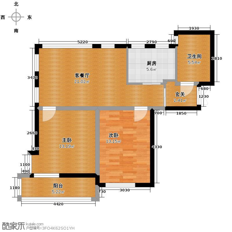 蔚蓝公寓76.10㎡户型2室1厅1卫1厨