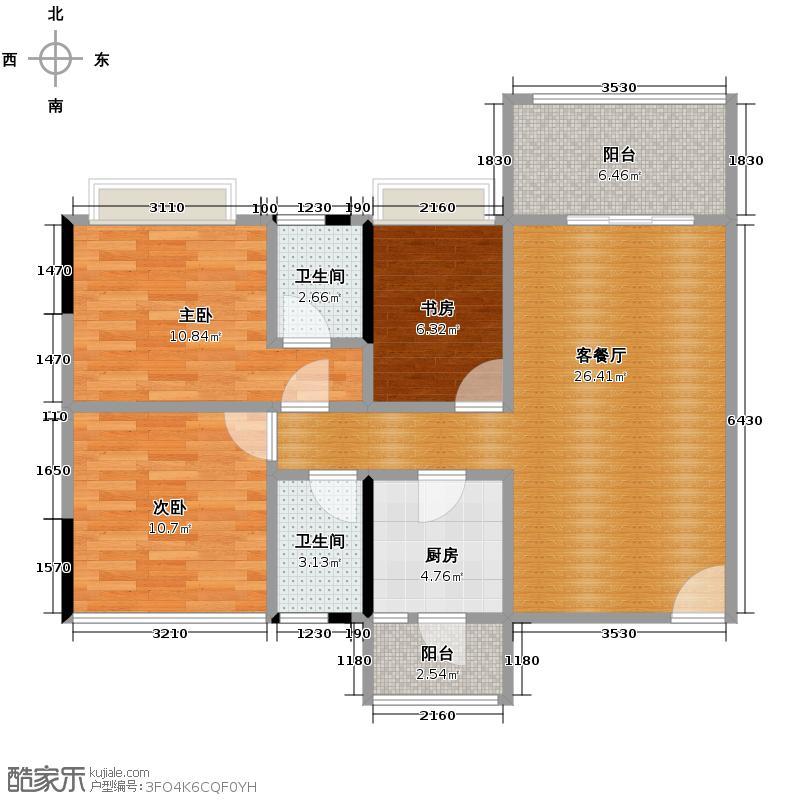 凯欣名苑89.47㎡3栋1梯2-5层04户型3室2厅2卫