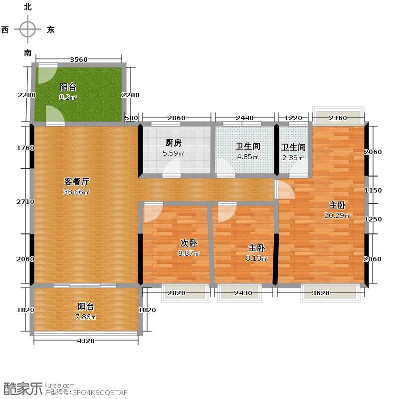 凯欣名苑117.04㎡3栋1梯2-5层02户型3室2厅2卫