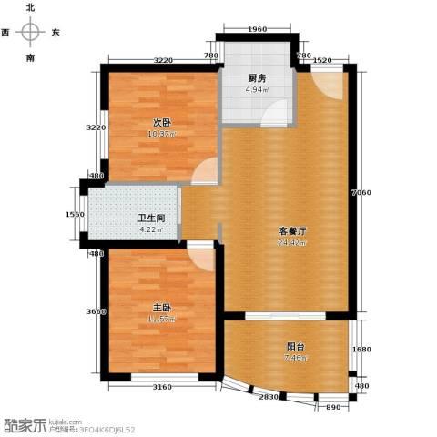 南山六和悦城2室2厅1卫0厨87.00㎡户型图