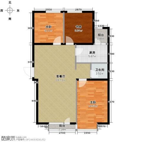 漾日华庭3室1厅1卫1厨107.00㎡户型图