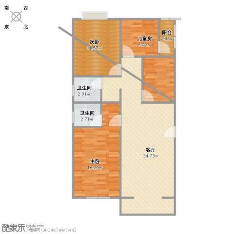 华富家园3室1厅2卫1厨109.00㎡户型图