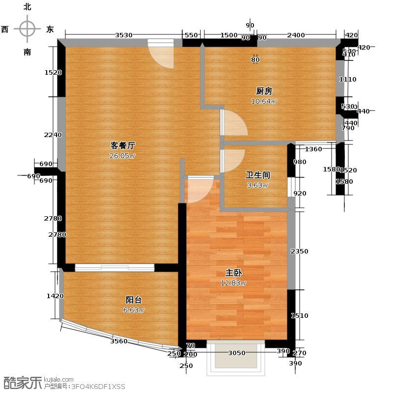 富力湾75.00㎡悦海阁H区1号户型2室2厅1卫
