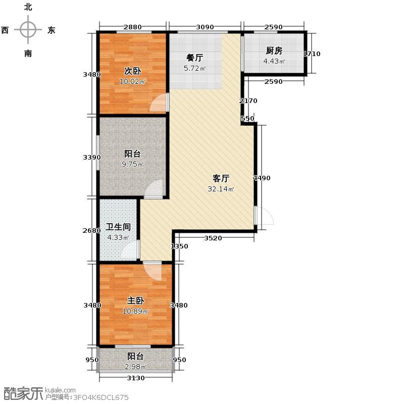 绿朗时光103.25㎡8号楼A户型3室2厅1卫