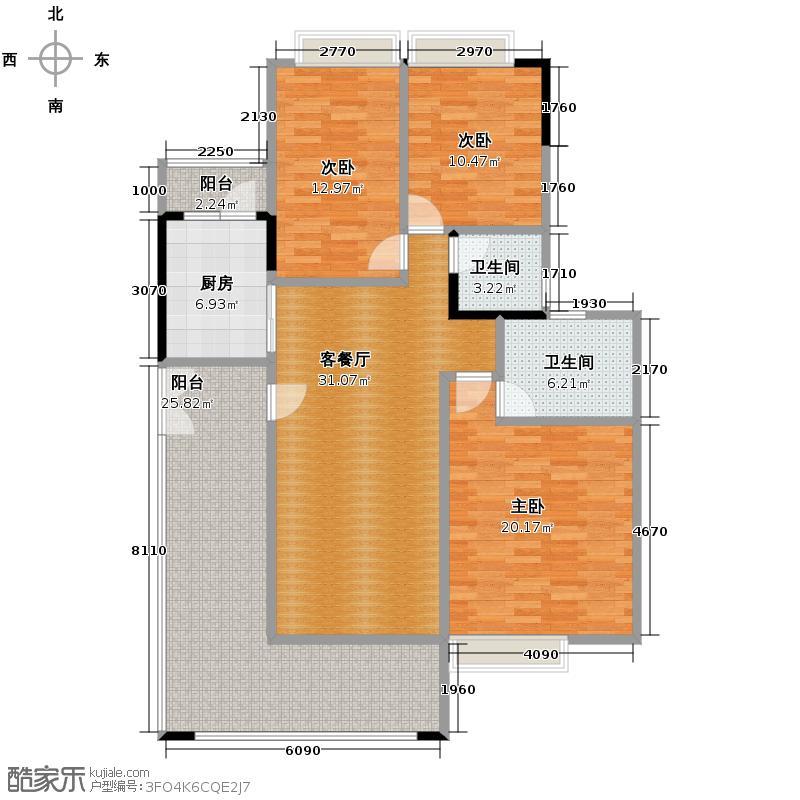 樵山明珠137.00㎡六座02户型3室2厅2卫