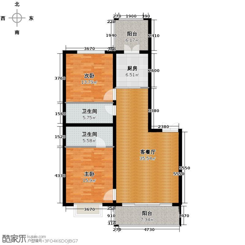 群力观江国际85.86㎡8、18、21号楼户型2室2厅2卫
