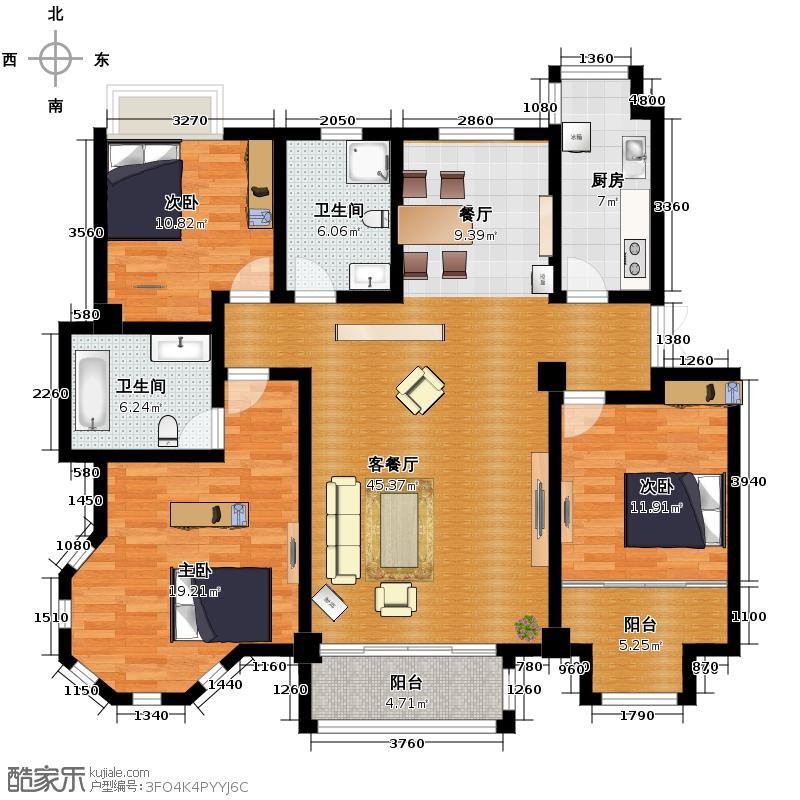 薇乐花园141.12㎡户型3室1厅2卫1厨