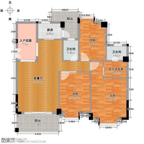 西堤国际花园3室1厅2卫1厨130.00㎡户型图