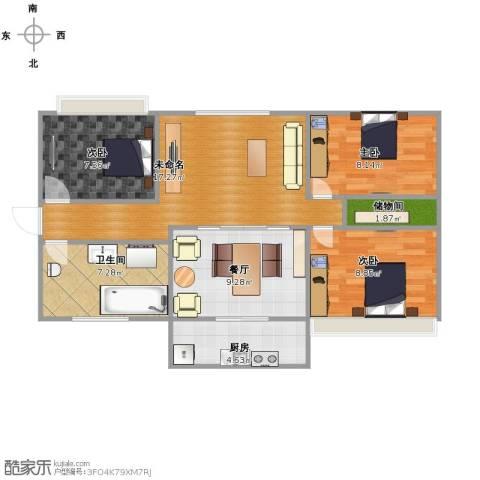 警察学院宿舍3室1厅1卫1厨89.00㎡户型图