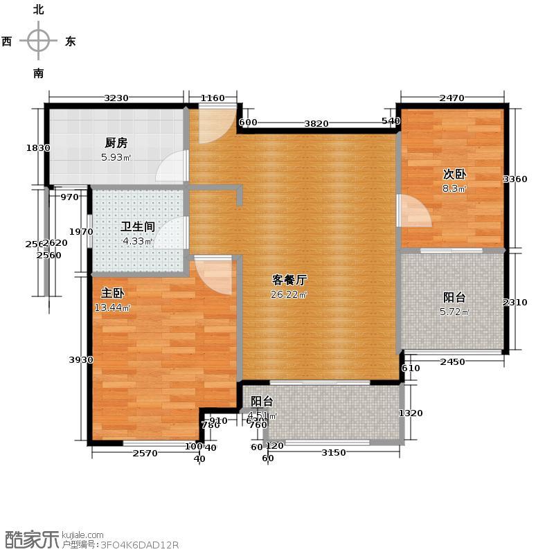 大华锦绣华城74.06㎡9号楼H户型2室2厅1卫