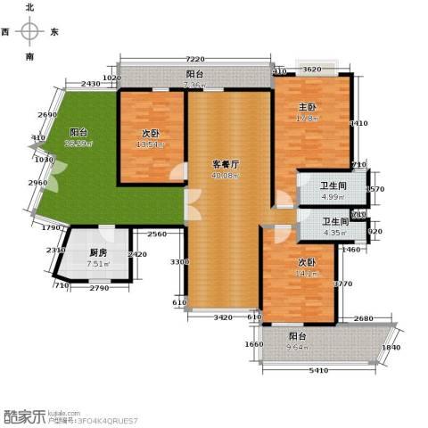 南城都汇御天下3室1厅2卫1厨145.68㎡户型图