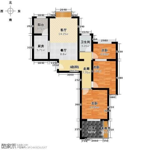 融侨观邸3室1厅1卫0厨101.00㎡户型图