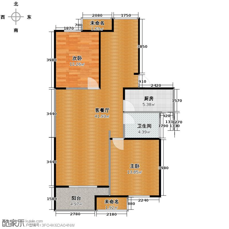 万江共和新城113.00㎡红公馆D户型2室1厅1卫1厨
