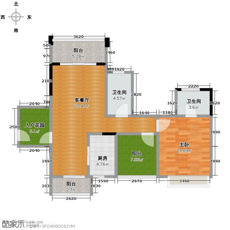 美的翰城89.31㎡8座、12座奇数层04户型1室2厅2卫