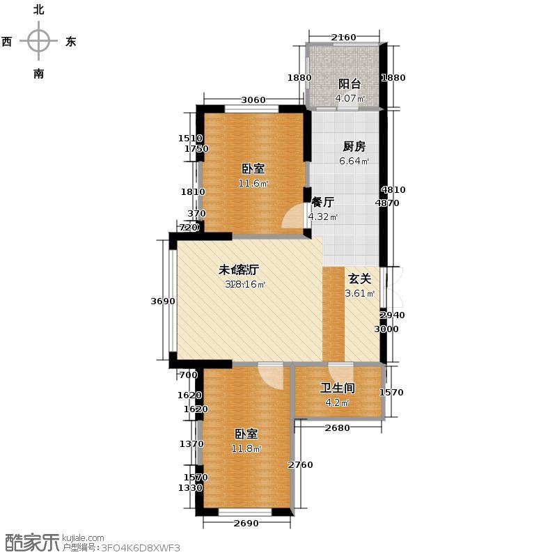 理想045198.59㎡三号楼A1户型2室2厅1卫
