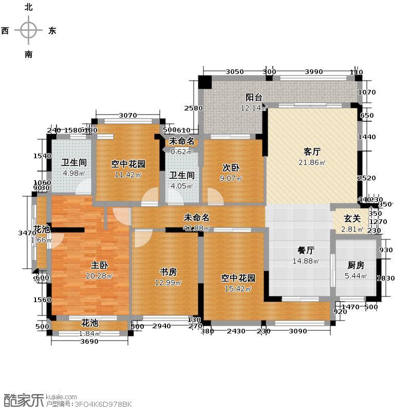 保利百合花园165.09㎡3栋1梯01户型3室2卫1厨