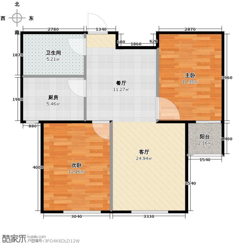 郁金台66.02㎡K供暖面积6073至户型2室2厅1卫