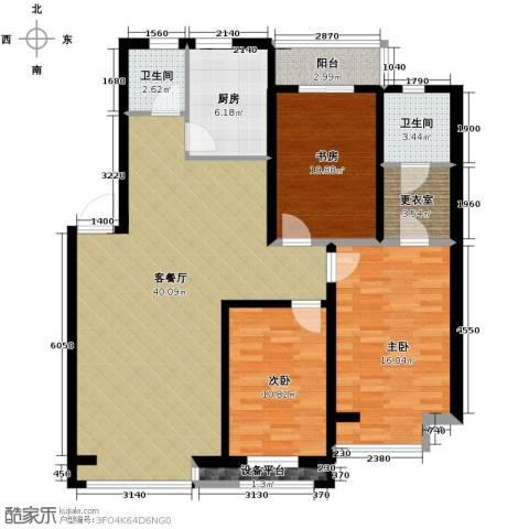 漾日华庭3室1厅2卫1厨124.00㎡户型图