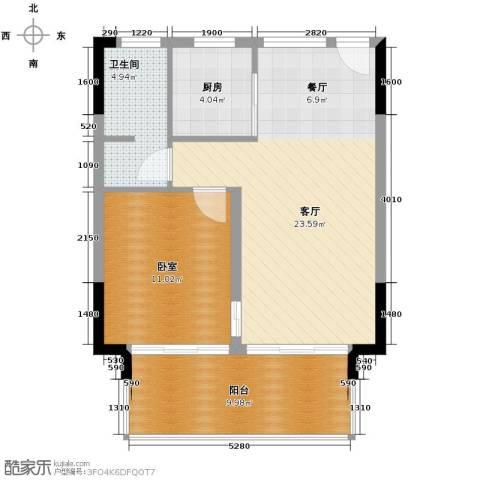 鲁能三亚湾1室2厅1卫0厨65.00㎡户型图