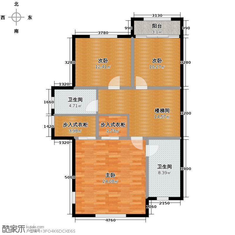 柏悦澜庭95.00㎡别墅G1二层户型10室