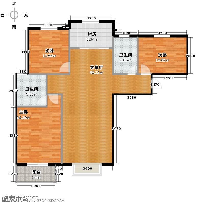 珠峰国际花园三期139.52㎡26号楼e1户型3室1厅2卫1厨