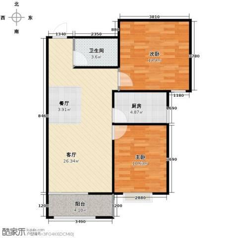 绿朗时光2室2厅1卫0厨86.00㎡户型图
