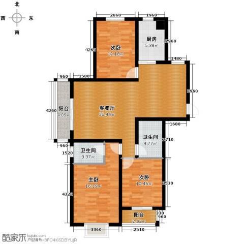 珠峰国际花园三期3室1厅2卫1厨142.00㎡户型图