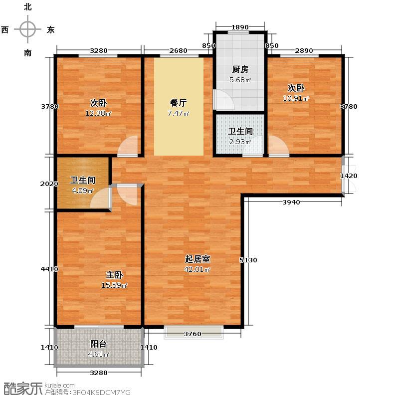 紫睿天和135.42㎡A户型3室2厅2卫