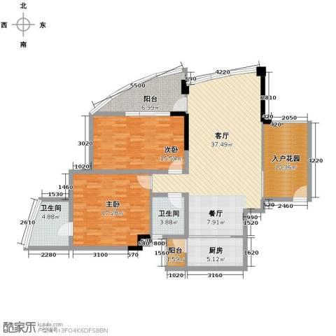 鲁能三亚湾2室2厅2卫0厨103.13㎡户型图