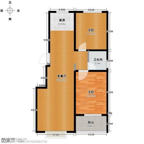 江南鸿郡2室2厅1卫0厨90.00㎡户型图
