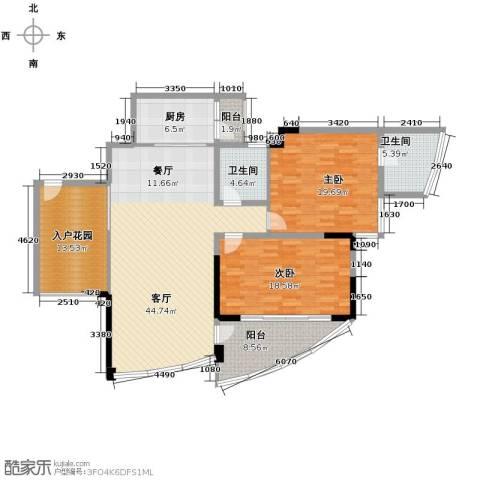 鲁能三亚湾2室2厅2卫0厨123.53㎡户型图